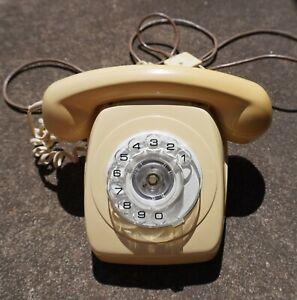 Vintage 83 Home Land Line Rotary Phone Cream Ivory Telecom Australia