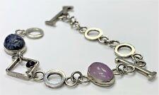 Vintage Sterling Silver Multi-Stone Craved Scarab Oblong Link Bracelet