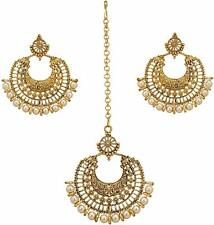 Gold Jewelry Gift Women Bridal Designer Jewellery Head Maang Tikka with Dangles