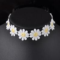 Lolita Lace White Sweet Choker Cute Daisy Flower Yellow Collar Necklace Jewelry
