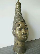 Bronze African Benin Sculpture Queen Mother head statue Africa Art Hand Made
