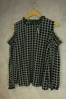 Ladies Size 18 Atmosphere Cold Shoulder Long Sleeve Black White Blouse NEW