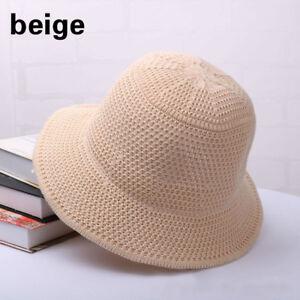 Womens Summer Bucket Sun Hats Knit Hollowed Wide Brim Outdoor Crochet Cap