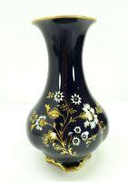 """Lindner Kueps Bavaria Echt Cobalt Blue Gold Floral Vase 7 1/2"""" Regina-C Germany"""