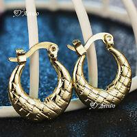 18k yellow gold gf earrings hoop hoops small cute fashion jewelry AEIWO grid NEW