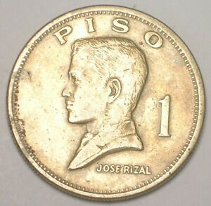 1972 Philippines One 1 Piso Rizal Arms Coin VF