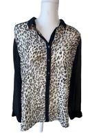 Chicos Women's Blouse XL Size 3 Black Animal Print Long Sleeve Sheer Career