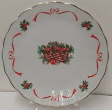"""Walbrzych BASKET OF CHEER  Dinner Plate (10"""")  Ribbed  Gold Trim  NICE"""