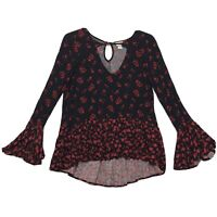 Mossimo Supply Co Keyhole Neck Tunic Blouse Sz M Black Red Floral Long Bell Sl