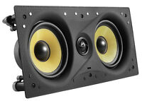 """TDX Dual 5.25"""" 2-Way In-Wall Center Channel Flush Mount Audio Speaker 200W White"""