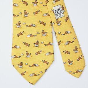 HERMES TIE 7959 EA Racoon on Yellow Classic Silk Necktie