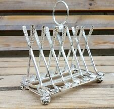 Large Silver Plated Letter / Toast Rack Crossed Golf Clubs