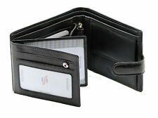 MENS RFID SAFE REAL LEATHER WALLET WITH ID & COIN POCKET GIFT BOXED 1213 BLACK
