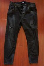 Zara Men Man Washed Black Destroyed Denim Jeans Skinny Size 31 Tags Retail 79.90