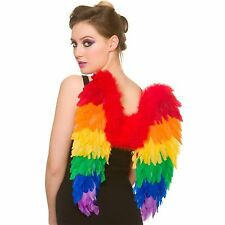 Rainbow Feather Wings Colourful Adults Womens Fancy Dress Costume Accessory