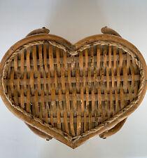 Vintage Heart Shaped Bamboo Handle Wicker/Wedding/Picnic Basket
