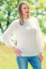 White light mohair sweater summer hand knitted lace top fuzzy SUPERTANYA SALE