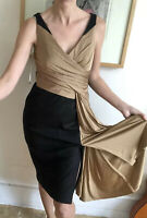 £199 Karen Millen Dress Bronze Black Uk 12 10 Draped Pencil Fitted Wiggle