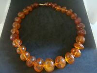 HUGE ANTIQUE FACETED HONEY BALTIC AMBER BEADS WITH BARREL CLASP 81 GRAMS 19 INS