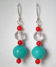 Aqua quartzite clear and orange Quartz bead earrings silver plated hook 5.25cm