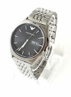 Original Armani Herren Uhr silber schwarz Edelstahl AR1977 Datum Wochentag Neu