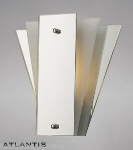 Art Deco Wall Light With White Glass and Mirror Panels LED - Art Deco Fan Style