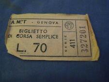 """BIGLIETTO TRAM """" A.M.T. GENOVA """" LIRE 70 4-230/8"""