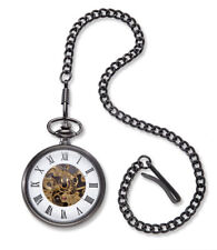 Personalized Gunmetal Gray Exposed Gears Pocket Watch Engraved Gifts