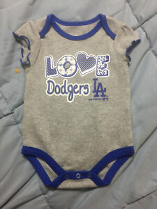 Los Angeles Dodgers Girls Baby Infant One Piece  Creeper Size 0-3 Months Gray