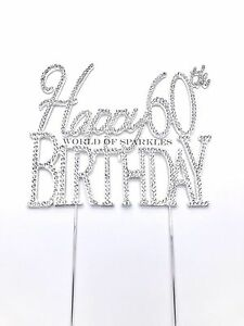 Diamante Rhinestone Cake Pick Topper Happy Birthday 30, 40th 50th 60th 70th 80th