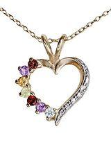 Zauberhafter Herz Anhänger 925er Silber vergoldet Amethyst, Granat, Citrin, Peri