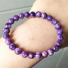 Genuine Natural Purple Charoite Gemstone Round Beads Women Bracelet 7.5mm AAAA