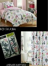I Love Paris Bed In A Bag Tower Eiffel Bedding Full Set+ Shower Curtain+Bonus