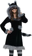 Raccoon Costume Girls Teen Tween Plush Furry Sweet Dress Racoon Hoodie - J 0-9