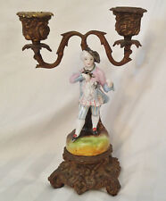 Antique Victorian 19th c. Cast Iron & Porcelain Colonial Man Candle Stick Holder