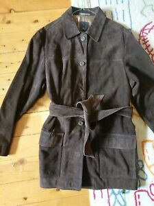 Witchery Suede Long brown jacket, 5 buttons, size M 99 cm Handmade in Australia