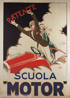ITALY PATENT SCUOLA MOTOR DRIVING SCHOOL FLYING COUPLE VINTAGE POSTER REPRO