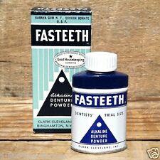 Original 1940s FASTEETH DENTURE TOOTH POWDER Tin Unused FULL BOX Clean Teeth NOS