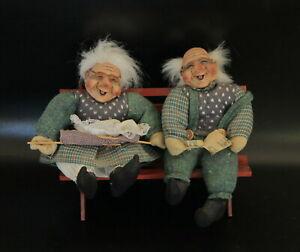 GRANDPA & GRANDMA Handmade Dolls on Wood Bench