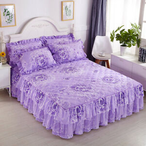 Thick Cotton Floral Bedspreads Quilted Bedskirted Ruffle Bed Cover/2 Pillowcases