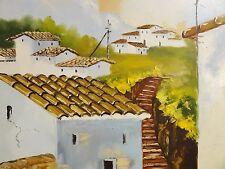 L. perez firmado-pinturas: españa-pequeño pueblo en las colinas