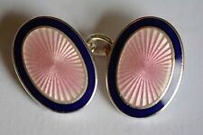 Aspinal sterling silver in Pink and Navy blue cufflinks