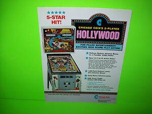 Chicago Coin HOLLYWOOD Original 1976 Flipper Game Pinball Machine Flyer RARE