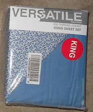 Versatile Collection Denim Leaves/Med Blue Reversible 4 Pc King Sheet Set NEW