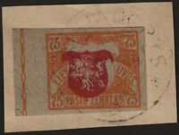 Lithuania, 1919, SC 36, used, imperf, center shifted, cover cut. c4018