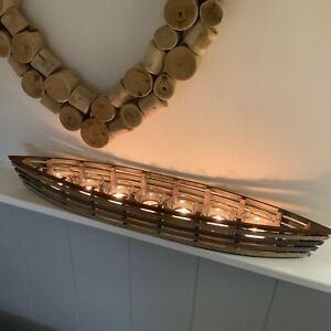 67cm Long Boat Tea Light Holder Vintage Chic Rustic Bathroon Nautical Candle