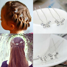 Crystal Butterfly Wedding Hair Pins Bridesmaid Diamante Hair Clips