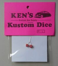 RED w WHITE DOTS DICE 1:24 1:25 KEN'S KUSTOM CAR MODEL ACCESSORY D3