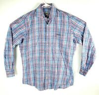 Peter Millar Mens Multicolor Plaid Check Long Sleeve Button Dress Shirt Size M