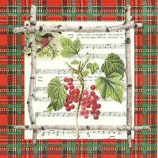 4x Tovaglioli di carta per Decoupage Decopatch Bacche Di Natale